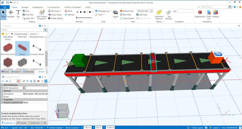 Emulate3D コンベヤ センサー